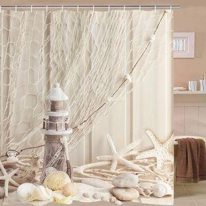 Nautical Shower Curtain Coastal Sea Shell W Hooks